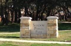 Sign at the front of the Shadow Pointe community park.