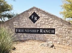 Neighborhood sign at the entrance to Southwest Austin's Friendship Ranch subdivision.