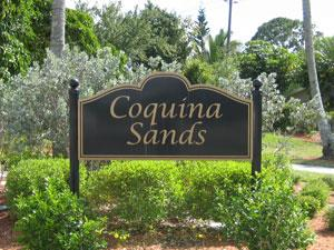 Coquina Sands Naples Fl neighborhood sign