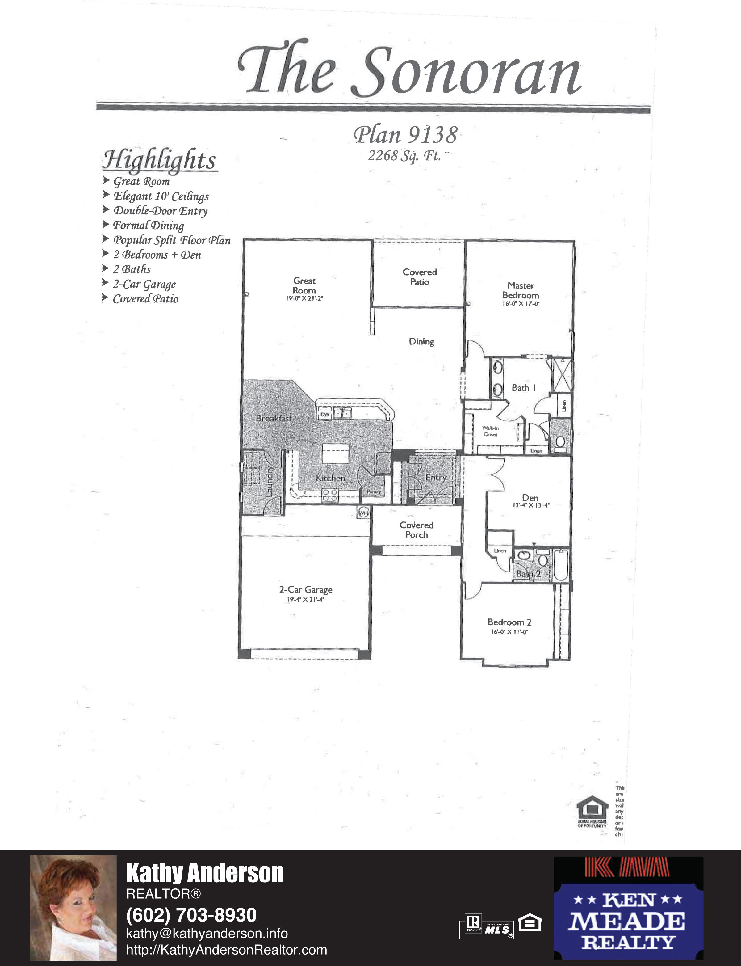 Arizona Traditions Sonoran Floor Plan Model Home Plans Floorplans Models in Surprise Arizona AZ Top Ken Meade Realty Realtor agent Kathy Anderson