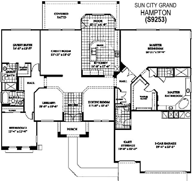 Sun City Grand Hampton floor plan, Del Webb Sun City Grand Floor Plan Model Home House Plans Floorplans Models in Surprise Phoenix Arizona AZ Ken Meade Realty Kathy Anderson