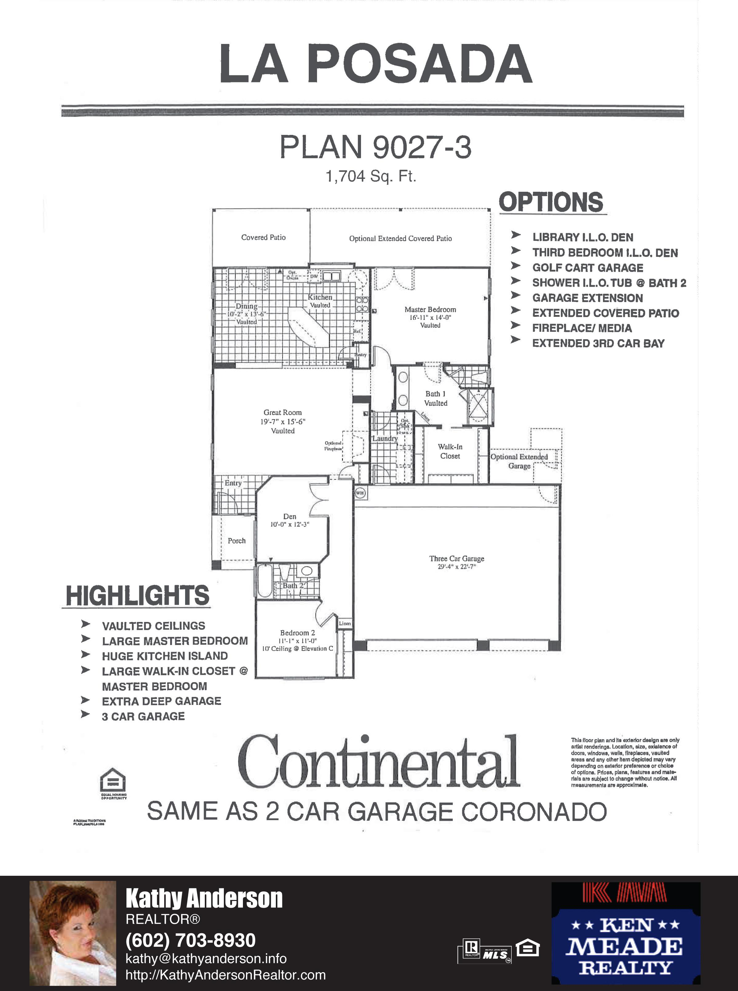 Arizona Traditions La Posada Floor Plan Model Home Plans Floorplans Models in Surprise Arizona AZ Top Ken Meade Realty Realtor agent Kathy Anderson