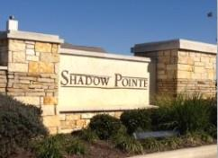 The monument at the entry to Shadow Pointe subdivision in Round Rock 78665