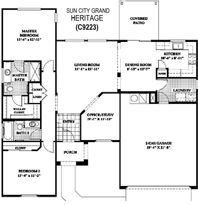 Sun City Grand Heritage floor plan, Del Webb Sun City Grand Floor Plan Model Home House Plans Floorplans Models in Surprise Phoenix Arizona AZ Ken Meade Realty Kathy Anderson