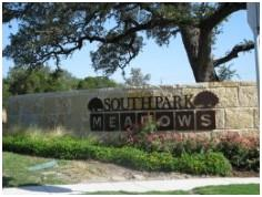 Sign at one of the entrances to Southpark Meadows Austin subdivision