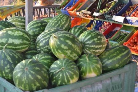 Watermelons and fruits at an outdoor frutaria
