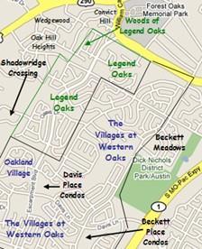 Approximate boundaries of Southwest Austin Legend Oaks neighborhoods.