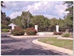 One of the gated entrances at the Park West neighborhood in Circle C Ranch.