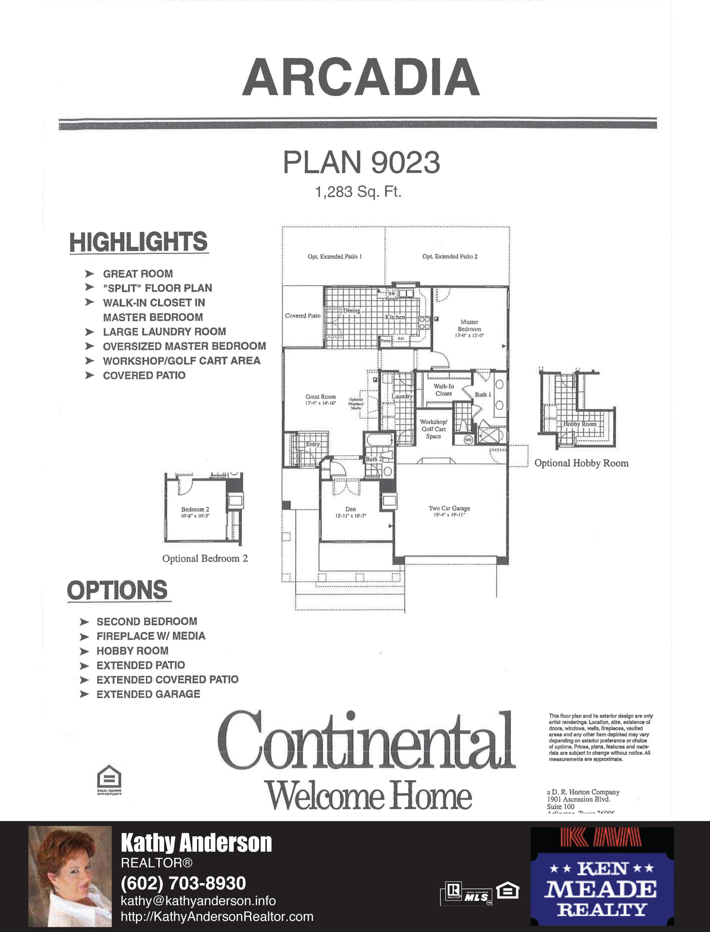 Arizona Traditions Arcadia Floor Plan Model Home Plans Floorplans Models in Surprise Arizona AZ Top Ken Meade Realty Realtor agent Kathy Anderson