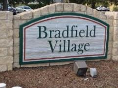 Entrance sign at the Bradfield Village subdivision in Buda, 78610