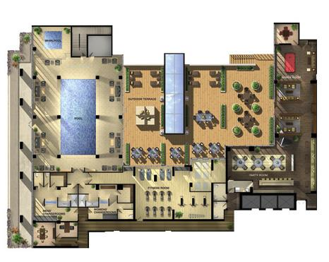 One Bedford Amenities Layout