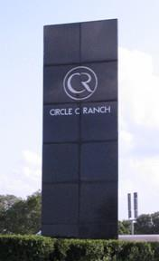 Sighn at the entrance to Circle C Ranch