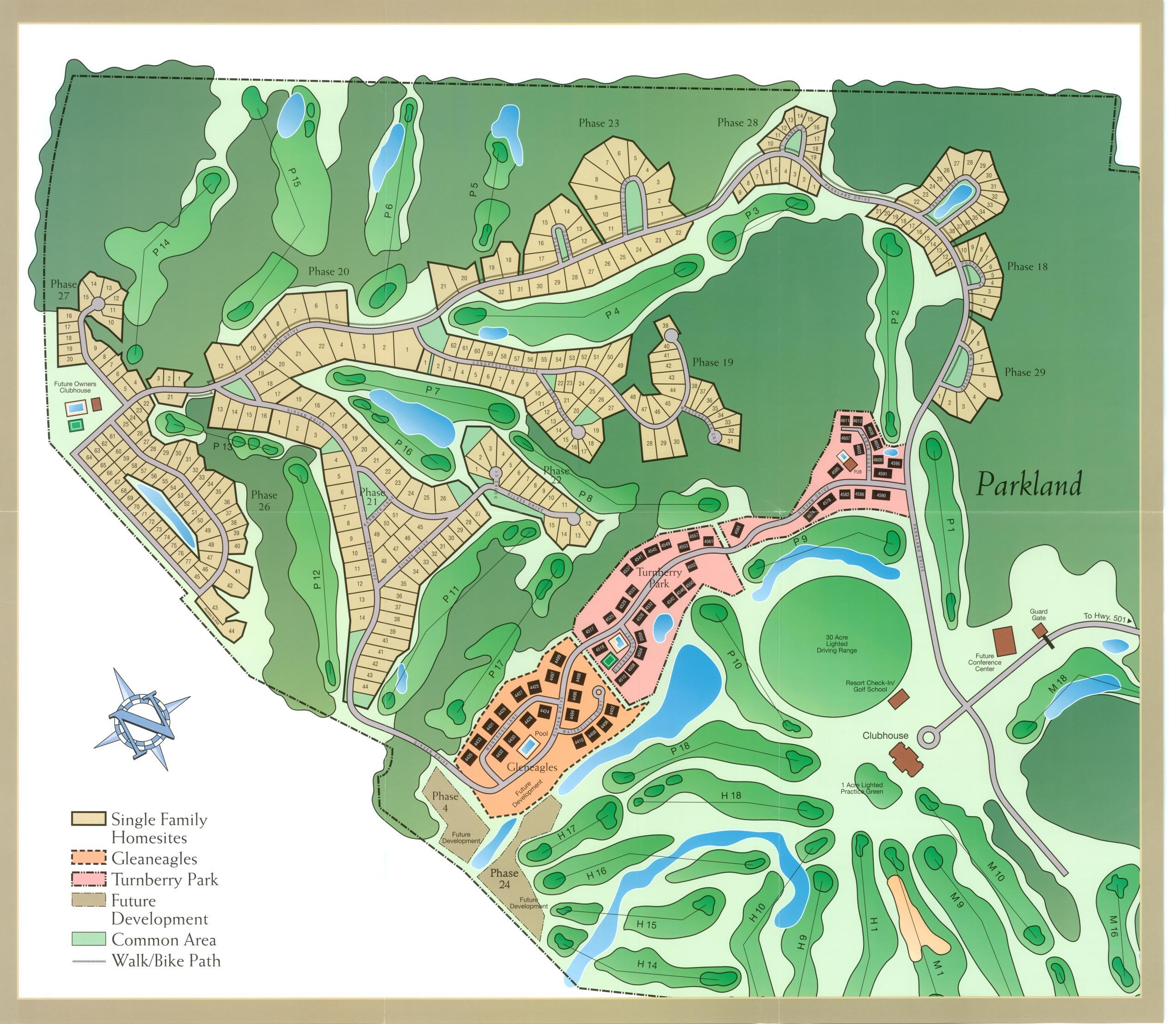 1300 acre site map of the Legends Resort