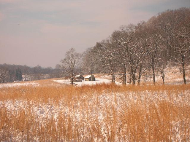 A view of huts at Valley Forge in the snow