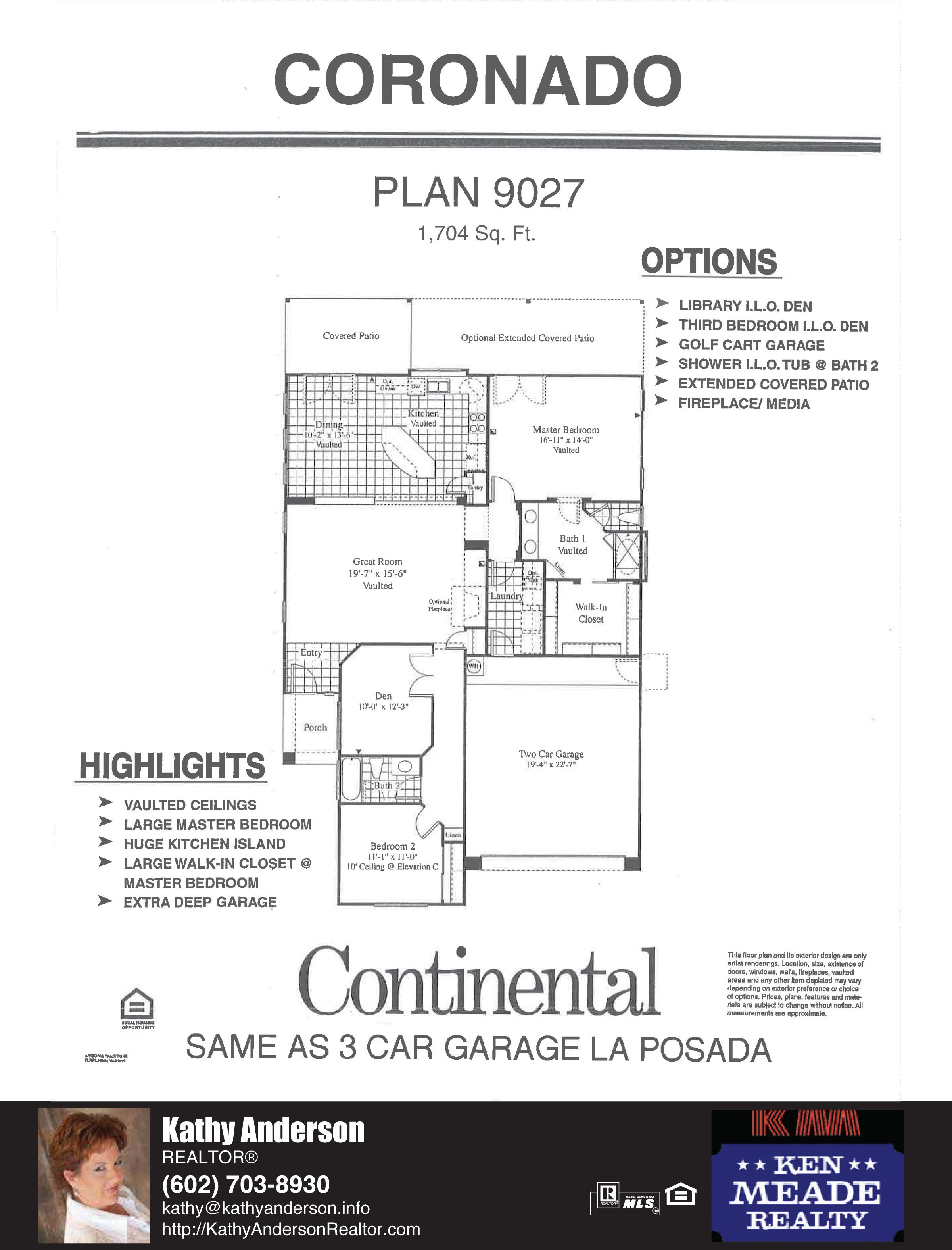 Arizona Traditions Coronado Floor Plan Model Home Plans Floorplans Models in Surprise Arizona AZ Top Ken Meade Realty Realtor agent Kathy Anderson