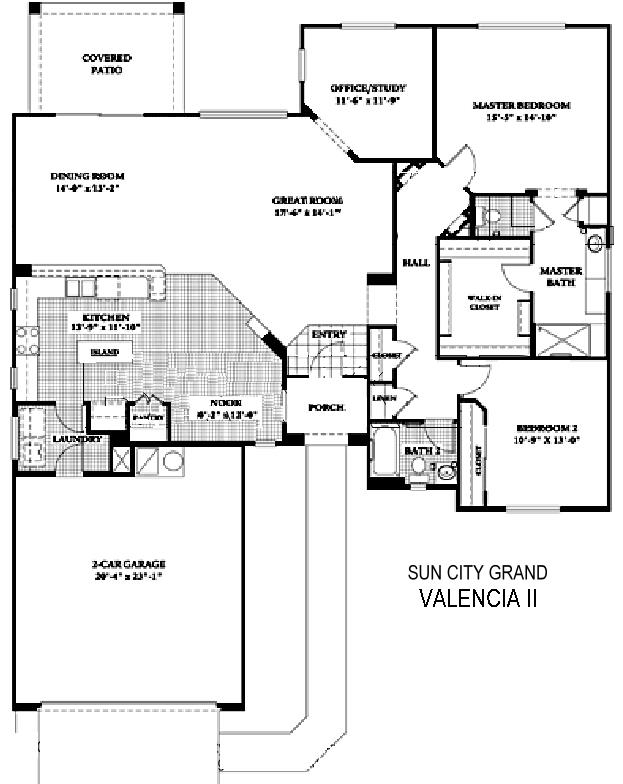 Sun City Grand Valencia II floor plan, Del Webb Sun City Grand Floor Plan Model Home House Plans Floorplans Models in Surprise Phoenix Arizona AZ Ken Meade Realty Kathy Anderson