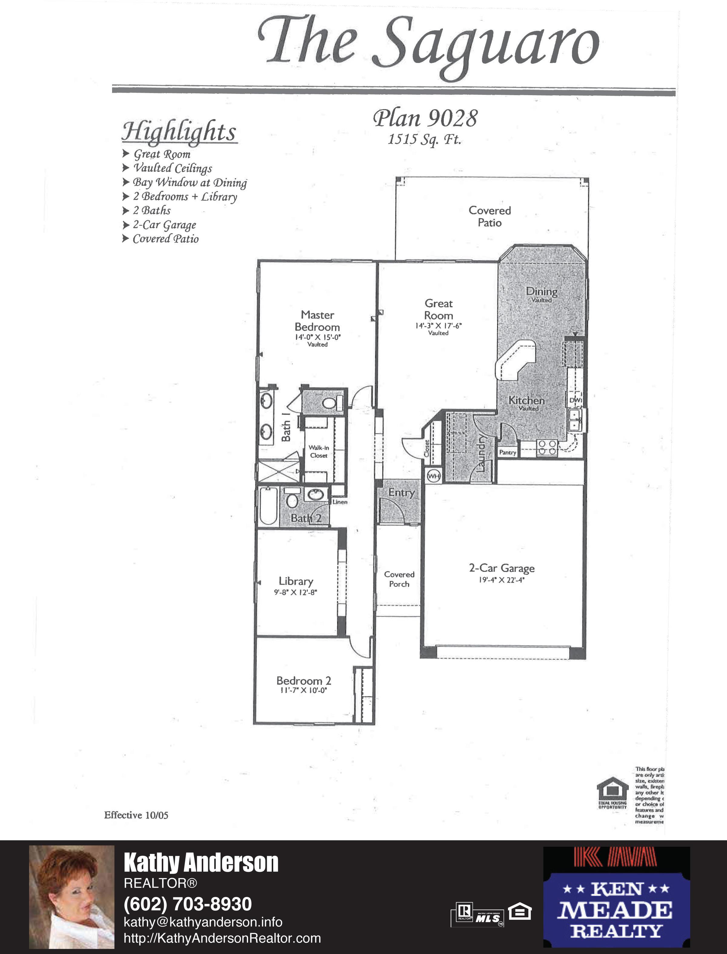 Arizona Traditions Saguaro Floor Plan Model Home Plans Floorplans Models in Surprise Arizona AZ Top Ken Meade Realty Realtor agent Kathy Anderson