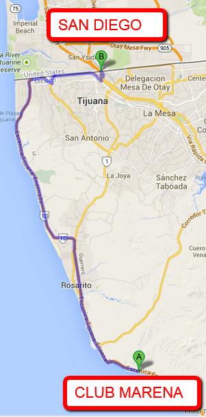 CLUB MERANA DISTANCE TO THE SAN DIEGO BORDER