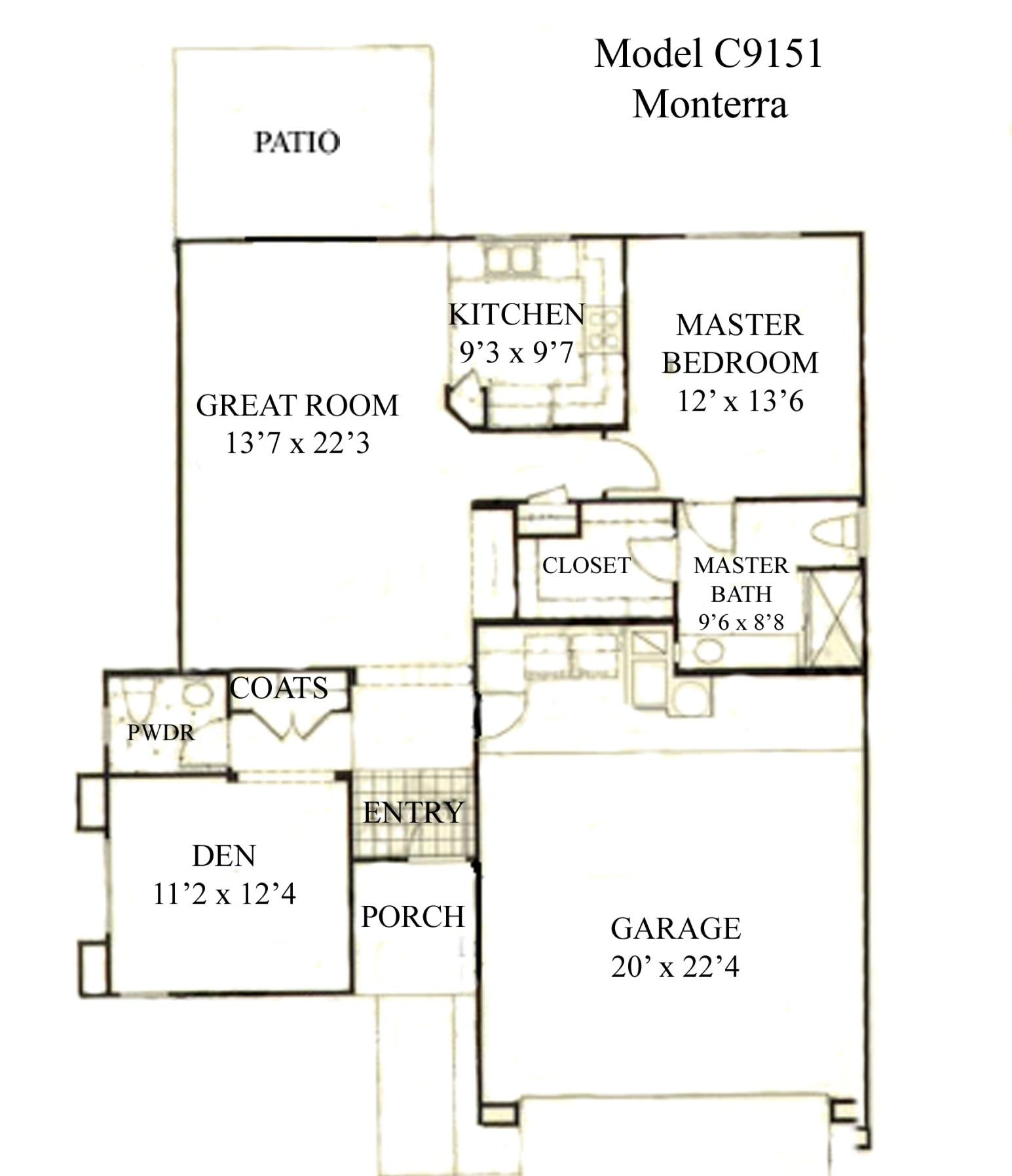 Sun City Grand Monterra floor plan, Del Webb Sun City Grand Floor Plan Model Home House Plans Floorplans Models in Surprise Phoenix Arizona AZ Ken Meade Realty Kathy Anderson