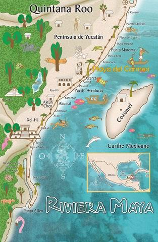 riviera maya map showing Akumal south of Playa del Carmen