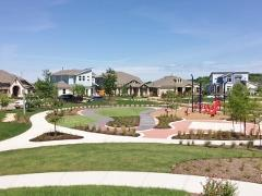 A view of Bryant Park and the model home park in the Easton Park neighborhood in Austin 78744