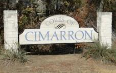 Sign at the entry to the Coves of Cimarron Subdivision in Buda, TX 78610.