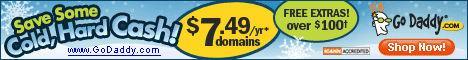 Go Daddy $7.49 .com domains