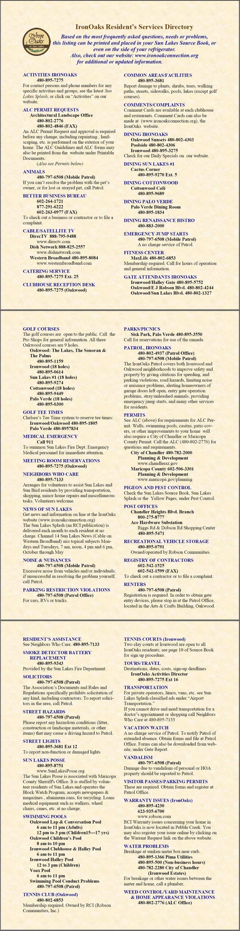 IronOaks Services Directory, Ironwood and Oakwood Country Clubs in Sun Lakes