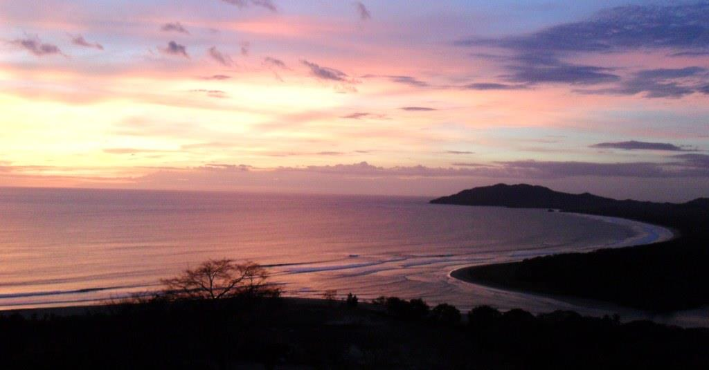 Sunset ocean bay view of Tamarindo and playa grande costa rica