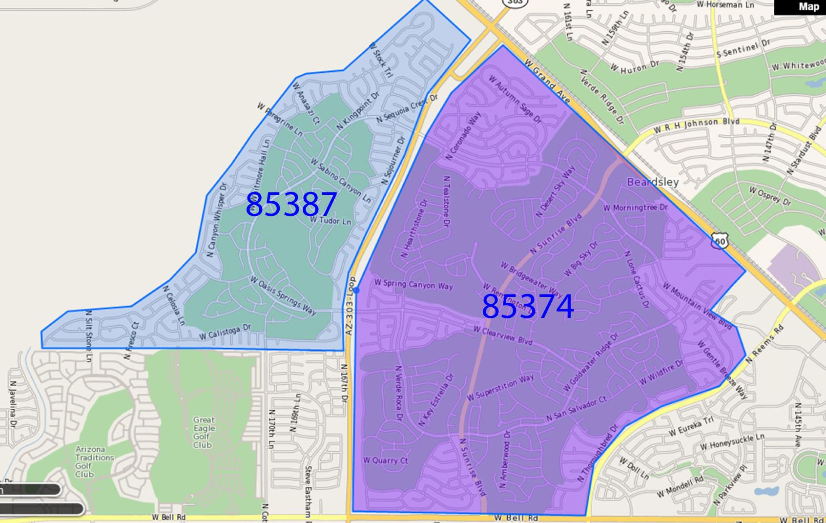 Map Of Del Webb Sun City Grand Surprise Az Zip Codes 85374 And 85378