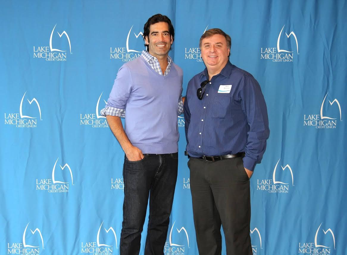 Pride Realty's Richard Harrison with HGTV's Carter Oosterhouse at a Lake Michigan Credit Union presentation.  He is now the producer for Million Dollar Rooms on HGTV.