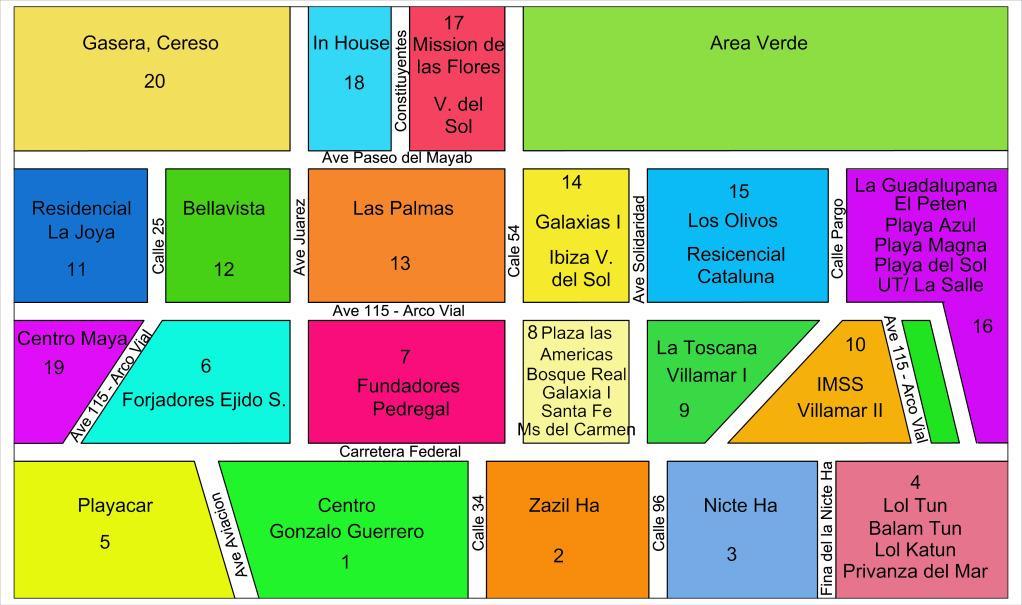 Playa del Carmen Taxi Zones