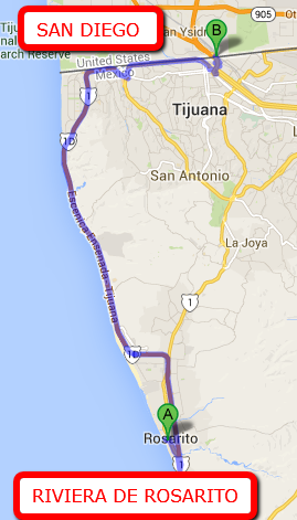 RIVIERA DE ROSARITO DISTANCE TO THE SAN DIEGO BORDER