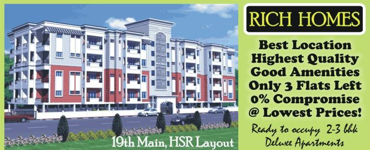 Rich Homes-HSR Layout Ready to Occupy Apartments at Affordable Prices in Prime Location 80ft Road