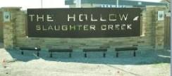 Sign at the front of this new Hollow at Slaughter Creek subdivision in South Austin