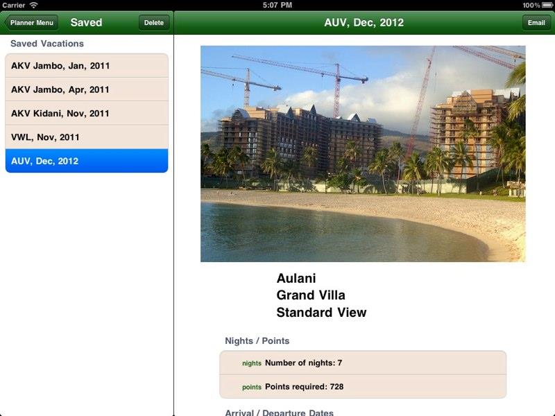 DVC Planner app Ipad