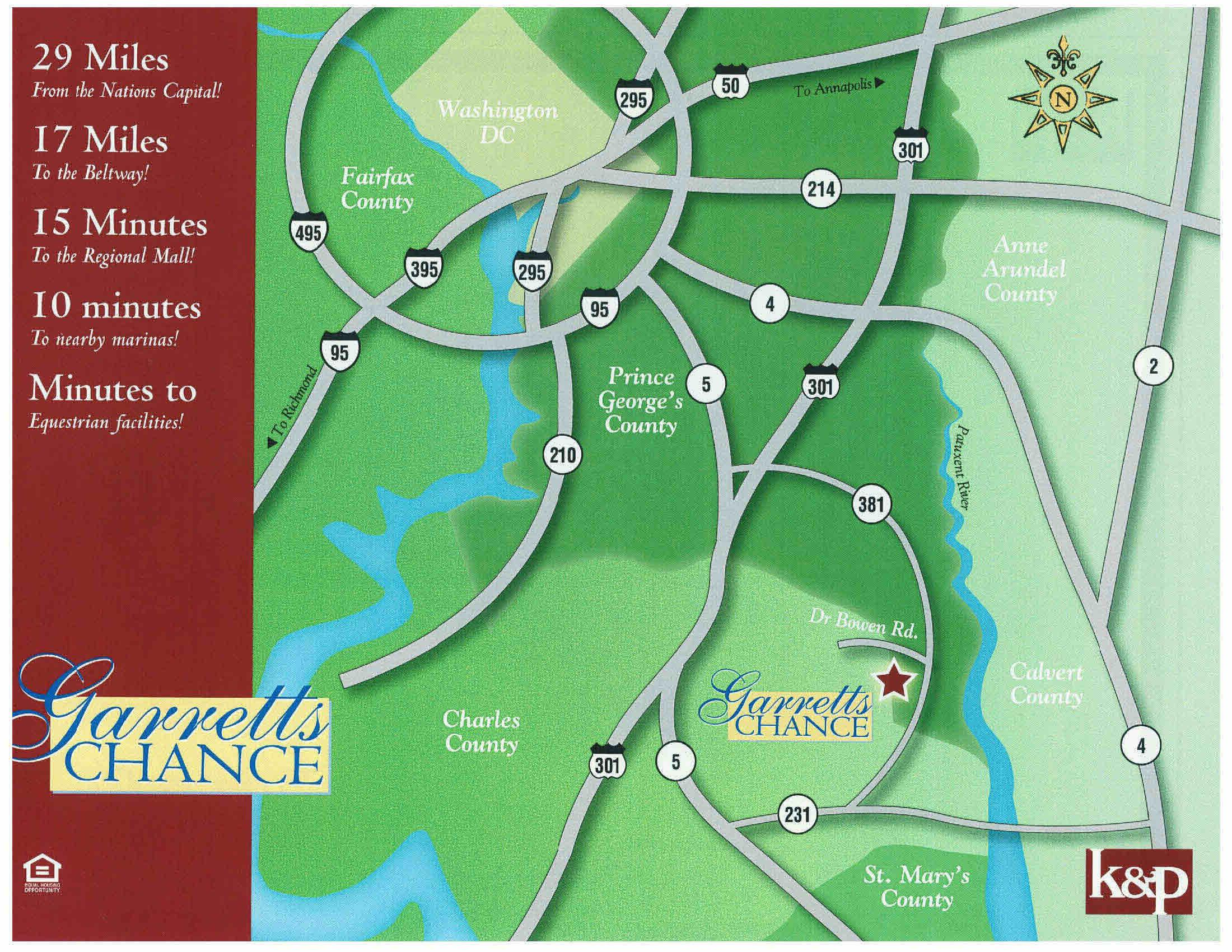 Garretts Chance is conveniently located in Aquasco MD,in Prince George's County, just outside of Brandywine and Hughesville in Charles County MD.  Convenient location offers an easy commute to the Beltway, to the Nations' Capital, local shopping at the mall and other recreation.