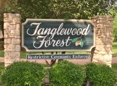 Sign at the entrance to Tanglewood Forest in South Austin 78748.