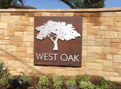 Sign at the entry to the West Oak neighborhood