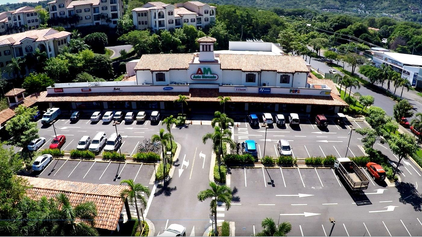 Aerial View Of Auto Mercado Supermarket In Playas Del Coco Costa Rica