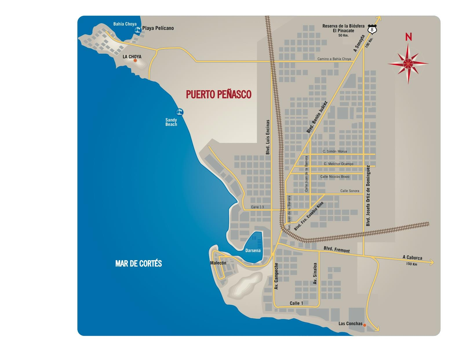 Map of Puerto Penasco, Mexico