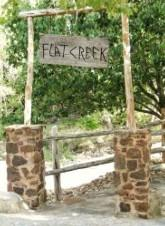 Sign at the crossing of Flat Creek in La Ventana subdivision in Driftwood, TX 78619.