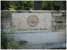 Sign at the entrance to Sunset Valley