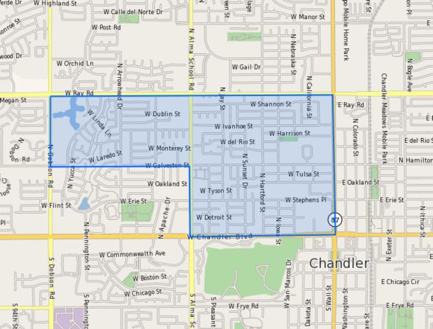 Hartford_Encinas_Elementary_School_Homes_for_Sale Boundary Map