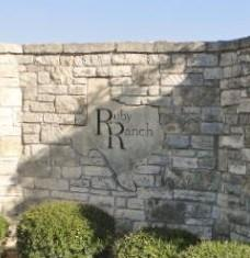Monument at the entrance to the Ruby Ranch neighborhood in Buda 78610.