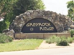 Sign at the entrance to the Greyrock Ridge subdivision in Southwest Austin