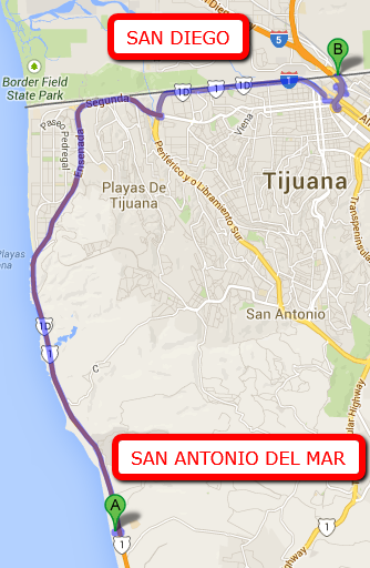 SAN ANTONIO DEL MAR DISTANCE TO THE SAN DIEGO BORDER