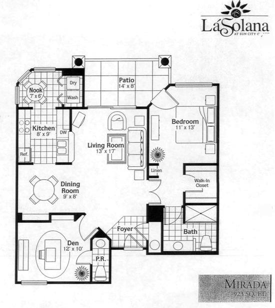 Sun City Grand La Solana Mirada condo Condominium Floor Plan Model ...