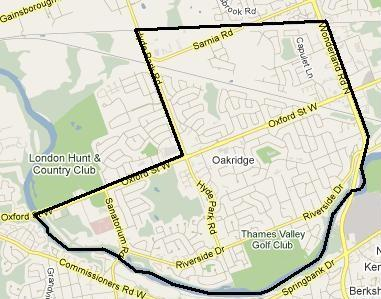 Oakridge London Ontario Real Estate Map