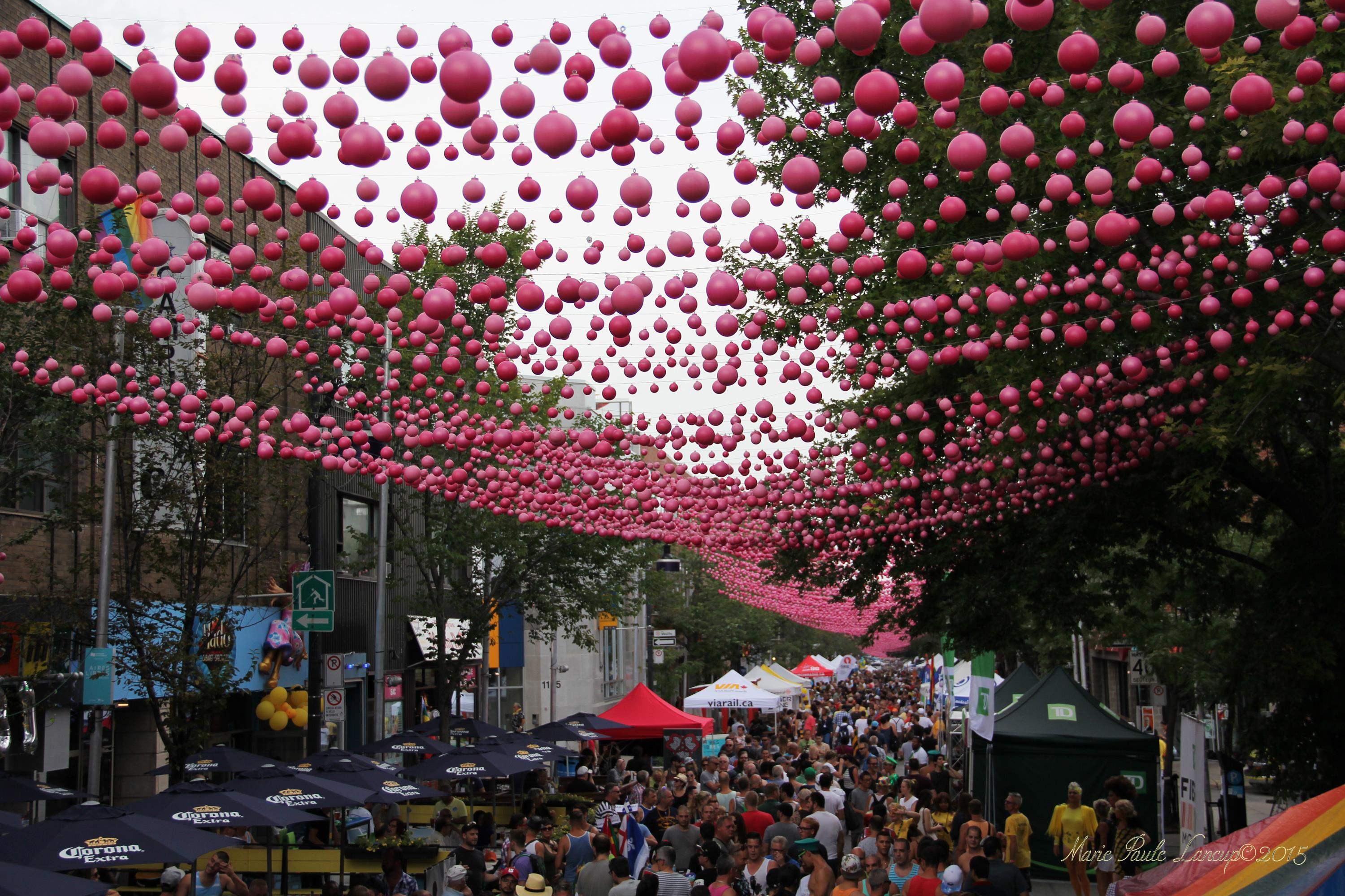 "Le Projet de Boules Roses, also comically known as ""Pink Balls"", by Montreal landscape architect Claude Cormier. Photo by Marie Paule Lancup©2015"